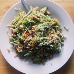 broccoli slaw (julienned broccoli steaks, cabbage and carrots), chickpeas, and brown rice tossed in a dijon dressing