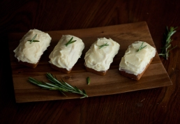Rosemary-Vanilla Mini Cakes with Vanilla-Mascarpone Frosting
